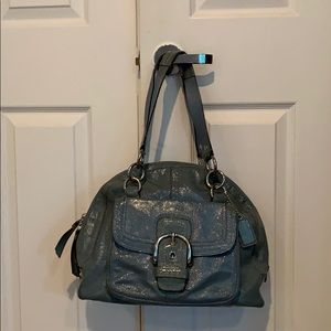 Coach Blue green Soho Courtney Patent leather bag